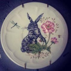 """Rabbit"" illustration on plate  Kelly Kielsmeier"