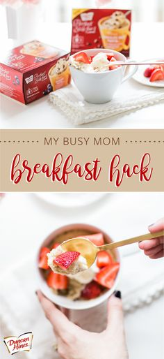 Say hello to the most delicious Busy Mom Breakfast Hack. By whipping up the Duncan Hines® Perfect Size for Blueberry Muffin and topping it with sweetened cream and fresh strawberries, you've got the simplest—and most scrumptious—morning recipe. In a ru Brunch Recipes, My Recipes, Breakfast Recipes, Cooking Recipes, Favorite Recipes, Yummy Treats, Yummy Food, What's For Breakfast, Vegan Breakfast