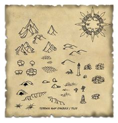 Terrain Map Symbol / Tiles cartography icons | NOT OUR ART please click artwork for source | WRITING INSPIRATION for Dungeons & Dragons DND Pathfinder PFRPG Warhammer 40k Star Wars Shadowrun Call of Cthulhu and other d20 RPG fantasy science fiction scifi horror game design | CREATE YOUR OWN roleplaying game material w/ RPG Bard at www.rpgbard.com: