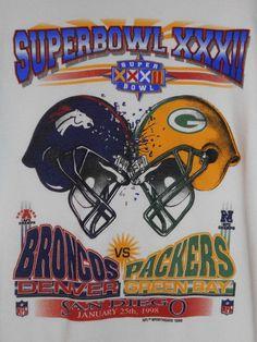 New BRONCOS PACKERS 1998 Super Bowl ELWAY FARVE NFL Football San Diego Shirt~XL #Superbowl #JOHN ELWAY VS. BRETT FAVRE #DenverBrocosvsGreenBayPackers