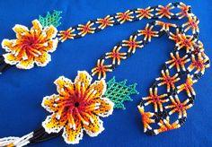 Huichol Beaded Flower necklace by Aramara on Etsy