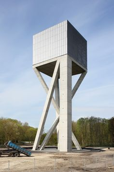 Water Tower by V+ in Ghlin, Belgium. Photo by Maxime Delvaux