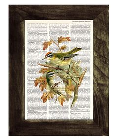 Birds in love print on Book page  Mixed media  art by PRRINT,