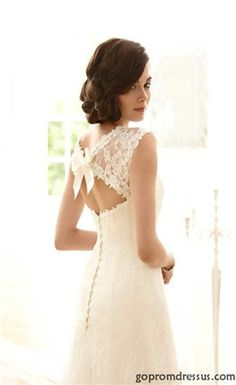 lace wedding dress; open back, but not too open. love it. this website has cheap dresses