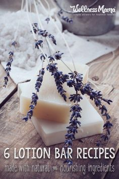 These lotion bar recipes use coconut oil, shea butter, beeswax and other natural ingredients for nourishing and chemical free lotion bars.