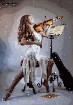 Google+ violin woman Gif