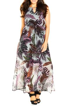 Shop City Chic 'jungle Kiss' Print Chiffon Halter Style Maxi Dress (plus Size) at Modalist