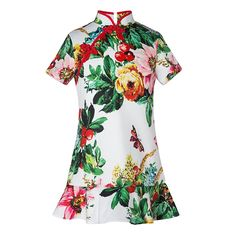 24.68$  Watch here - http://ali17n.shopchina.info/1/go.php?t=32803978823 - 2017 Summer Girls Dresses Children Cheongsam Style Dresses Chinese Style Baby Lotus Leaf Hem Clothing Hight Quality for party 24.68$ #magazineonlinewebsite