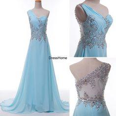long prom dress,one-shoulder prom dress,evening dress,blue evening dress,wedding party dress