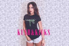 @jenny_ranks for Kush & Kicks  #kush #kicks #women #fashion #streetwear #guns #roses