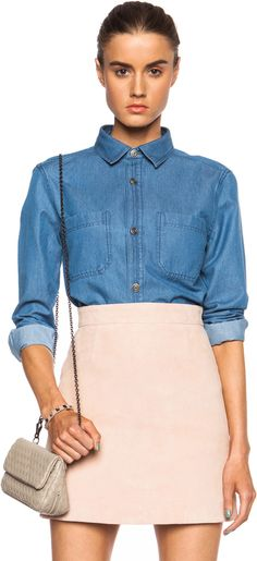 $210, Nancy Denim Shirt by A.P.C.. Sold by Forward By Elyse Walker. Click for more info: http://lookastic.com/women/shop_items/155536/redirect