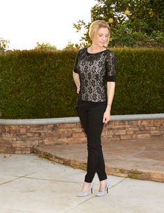A classic black and white silhouette dressed up with lace and sparkly shoes.