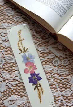 PRESIONA flor marcador - conservada de flores de jardín Natural, lector, amante del libro, maestro, estudiante regalo, rosa, lavanda, Blue Larkspur