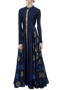 Buy Navy blue chanderi jacket & inner by Aksh at Aza Fashions Abaya Fashion, Muslim Fashion, Indian Fashion, Fashion Dresses, Indian Gowns, Pakistani Dresses, Indian Outfits, Kaftan, Look Short