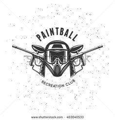 Paintball recreation club emblem. Monochrome vector vintage illustration.