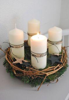 This year I have tied a traditional Advent wreath again. - This year I have tied a traditional Advent wreath again. This time the candles were covered with le - Magical Christmas, Christmas Mood, Christmas Candles, Christmas Is Coming, Christmas Wreaths, Christmas Crafts, Merry Christmas, Advent Wreaths, Modern Christmas