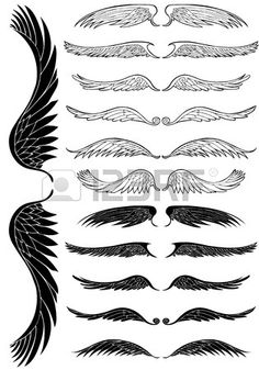 Wing Black Set: Line art angel wing flight symbols in a wide range of styles. photo