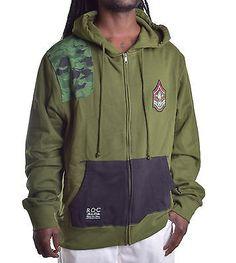 Rocawear Men's Army Camo Full Zip Hoodie