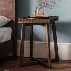 Buy Frank Hudson Gallery, Boho Retreat Walnut Bedside Table at stockists sale price. Shop for Gallery Direct Boho Retreat Bedside Table from CFS UK. Walnut Bedside Table, Bedside Tables, Teak, Fries, Square Side Table, Contemporary Furniture, French Furniture, Home Decor, Bedroom Furniture