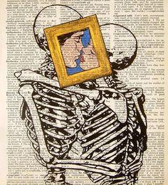love death art couple Black and White rock hipster vintage indie Grunge kiss dark skull amor paper hq journal pop art caveiras soft grunge l. Art And Illustration, Illustrations, Arte Pop, Arte Inspo, Indie, Art Beat, Multimedia Arts, Jasper Johns, Love Posters
