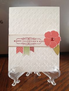 Valentine card made using CTMH stamps and cuttlebug embossing folder
