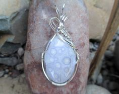 Poka Dot Agate Stone Pendant Sterling Silver by MikeWatsonDesign