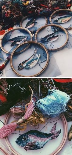 Embroidery artist Katerina Marchenko hand-stitches fish, birds, and insects onto translucent tulle.