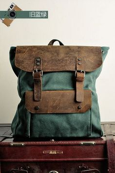 Genuine  leather backpack canvas backpack Leather by AWESOMEBAG, $59.99