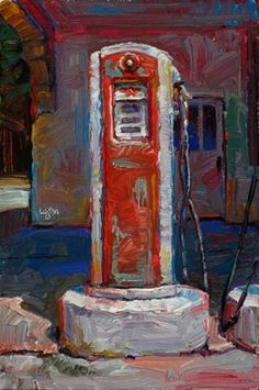 """""""Old Gas Pumps (Red  and  White)"""" - Original Fine Art for Sale - © Raymond Logan"""