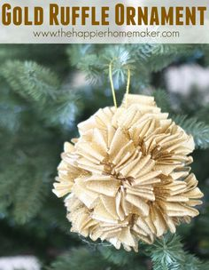 Create this feminine ruffle ornament with some spare ribbon, hot glue, and paper mache ornament form! Burlap Christmas Ornaments, Vinyl Ornaments, Christmas Sewing, Christmas Crafts, Christmas Ideas, Christmas Inspiration, Rustic Christmas, White Christmas, Christmas Holiday
