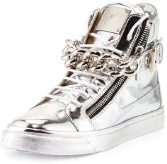 Giuseppe Zanotti Men's Metallic Chain & Zipper High-Top Sneaker, Silver on shopstyle.com