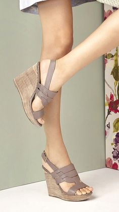 Taupe leather platform wedge sandals