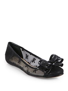 Bernice Mesh & Leather Bow Ballet Flats - Zoom - Saks Fifth Avenue Mobile