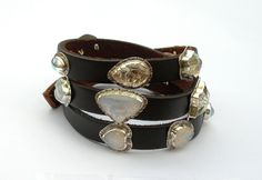 Leather Wrap Bracelet with Opaline and White Vintage Glass Crystal Embellishments by GlassEnamelbyJulie on Etsy https://www.etsy.com/listing/156239150/leather-wrap-bracelet-with-opaline-and