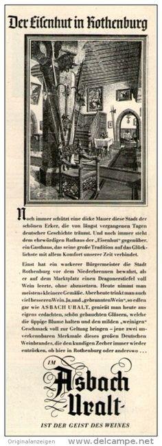 Original-Werbung/Inserat/ Anzeige 1950 - ASBACH URALT - ca. 220 X 70 mm