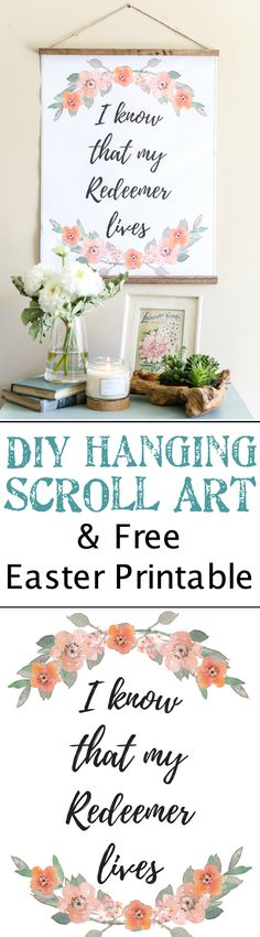 DIY Hanging Easter Scroll Printable | blesserhouse.com - Two free downloads of spring and Easter printables plus a quick and easy tutorial for how to make a DIY hanging scroll inexpensively.
