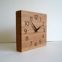 Modern Wooden Box Clock Wall Or Desk For Father Husband Men