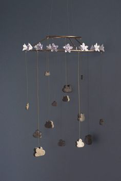 DIY Concrete Cloud Mobile with Origami Flowers