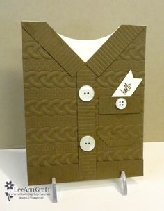 LeeAnn's Sweater card tutorial using the Cable Knit embossing folder from Stampin' Up!