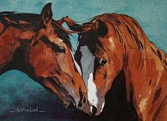 Horse painting by Oliver Violin.     Watercolor