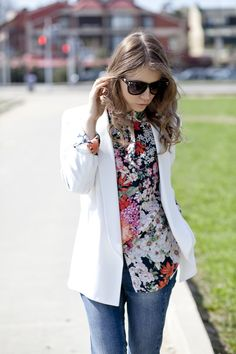 White Blazer over Floral Print Blouse Spring 2012 trend !