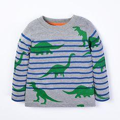 ec46063cf06b Unbeatable Price - Unisex Dinosaur Pattern Striped Long Sleeve Cotton T- Shirt - Free Shipping   No Tax