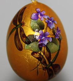 Gourd Garden or Christmas Ornament with Violets and by gaylasart, $10.00