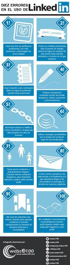 10 errores en el uso de Linkedin #infografia #infographic #socialmedia