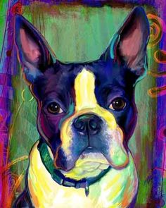 Boston Terrier Print, Blue Dog on Canvas on Etsy, $9.99