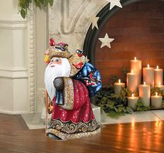 Happy Travels Santa Figurine Hand-carved and by GDeBrekhtGallery