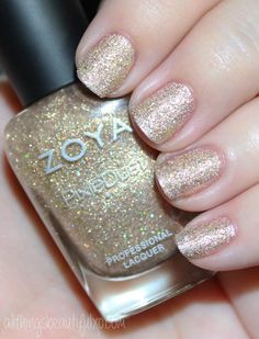 This is Zoya Levi Swatches Cute Nails, Pretty Nails, Zoya Nail Polish, Nail Polishes, Nails Only, Holographic Glitter, Makeup Swatches, Nail Art Galleries, Holiday Nails