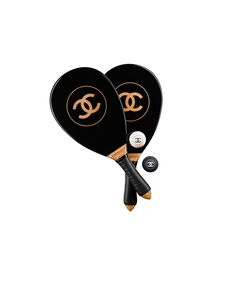 Beach rackets set, wood, resin & rubber-black - CHANEL