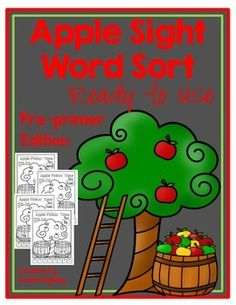 Sight word practice - Students cut, sort and glue apples by sight words. Great for introduction of sight words. Helps support sight word recognition.