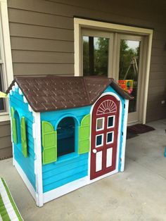 The neon palette of this spruced-up Little Tikes playhouse would please any kid. But as adults, we're really impressed by the caliber of the neat trim work. Brava!